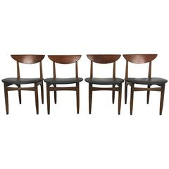 Set of Four Mid-Century Modern Walnut Dining Chairs by Lane