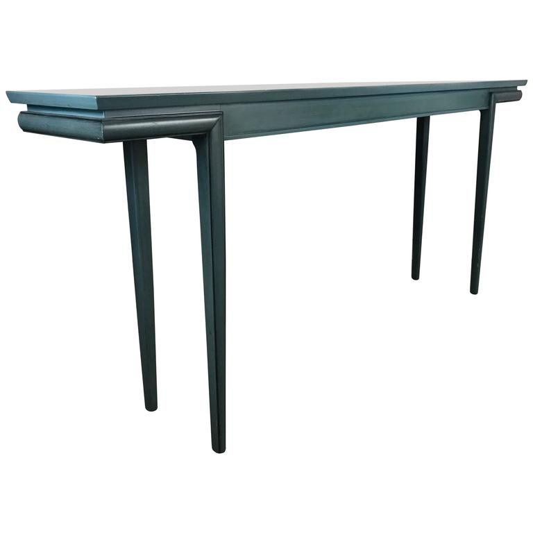 Asian Modern Blue Lacquer Console Table By Fine Arts Furniture James Mont For