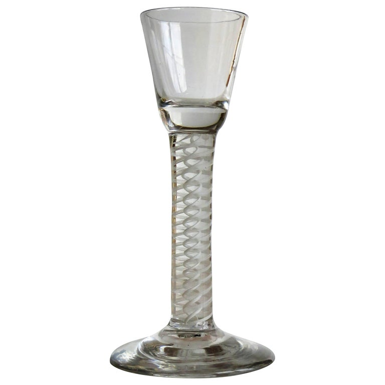Georgian Irish Wine Drinking Glass Hand-blown thick Cotton Twist Stem, Ca 1770 For Sale