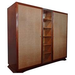 Art Deco Wardrobe Full Mahogany with Pergament like Doors and Wrought Iron