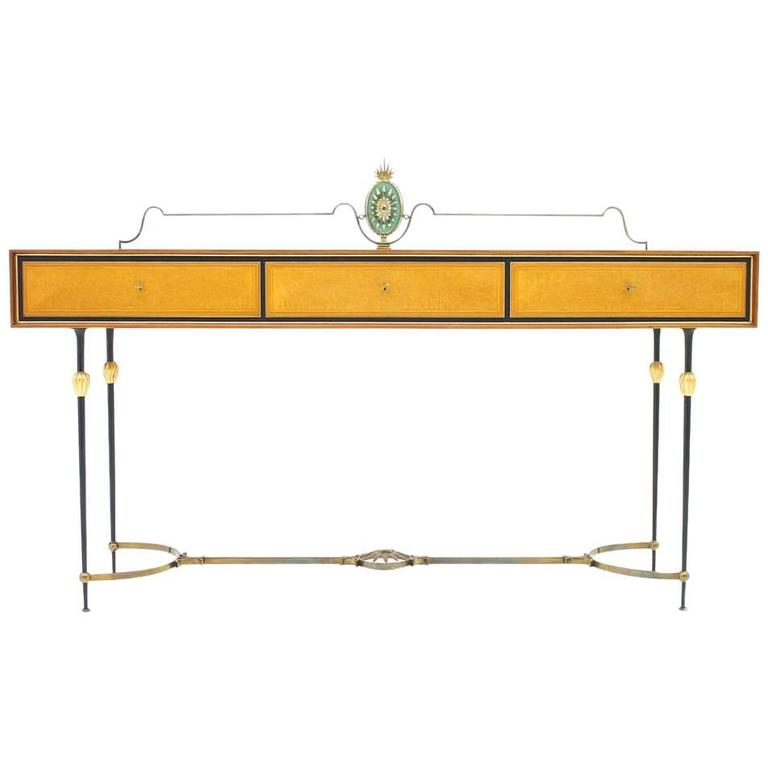 Beautiful Console Table, Sideboard with Brass and Mirror, Italy, 1960s