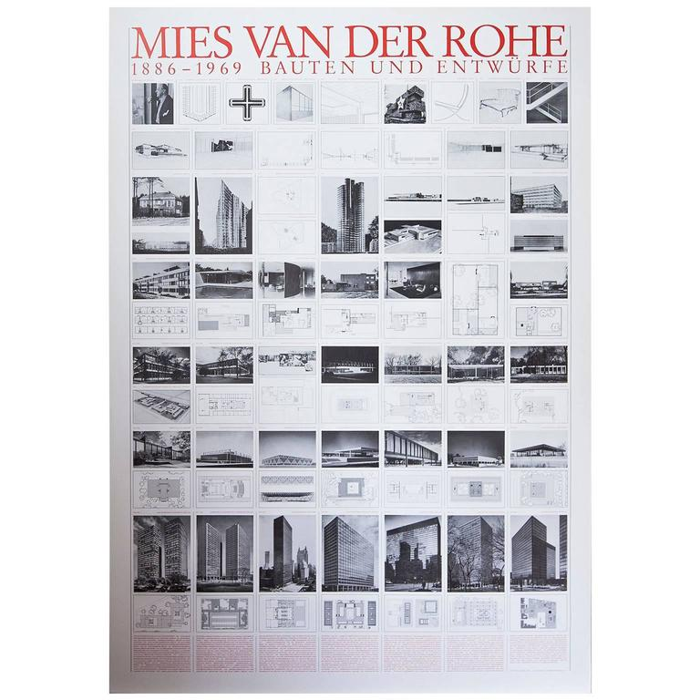 mies van der rohe bauhaus buildings and design 1886 1969 poster for sale at 1stdibs. Black Bedroom Furniture Sets. Home Design Ideas