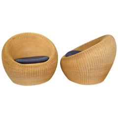 Pair of Eero Aarnio Wicker Lounge Chairs