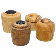 Four Studio Turned Wood Gift Canisters by Steve Sharpe