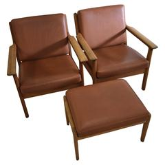 Mid-Century Modern Hans Wegner Lounge Chairs and Hocker