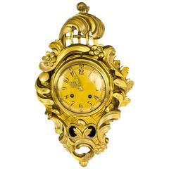 Antique Swedish Giltwood 8 Day Striking Cartel Clock, circa 1910