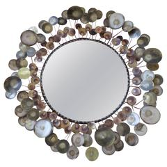 Outstanding Large C. Jere Brass Raindrops Mirror, Mid-Century Modern, Signed 76