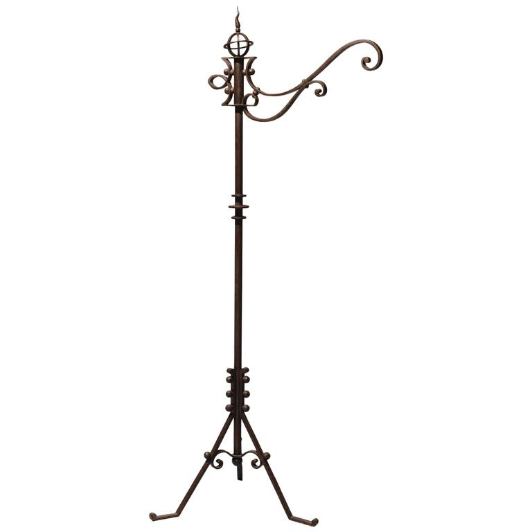 Wrought Iron Standard Lamp Attributed to Raymond Subes