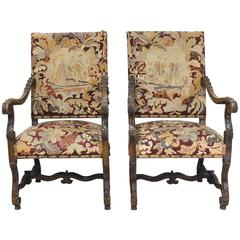 Pair of 19th Century Louis XIII Style French Throne Chairs