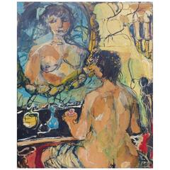 """Mid-Century Michael Russo """"Nude Before Mirror"""" Abstract Mixed-Media Painting"""
