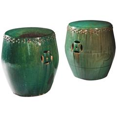 Pair of Vibrant Green Glazed Chinese Pottery Stools