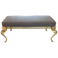 Stunning Solid Brass Bench with Handsome Grey Upholstered Cushion
