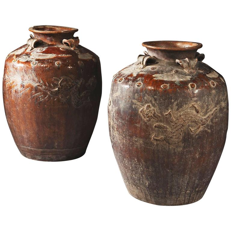 Pair of Large-Scale South Chinese Pottery Storage Jars For Sale