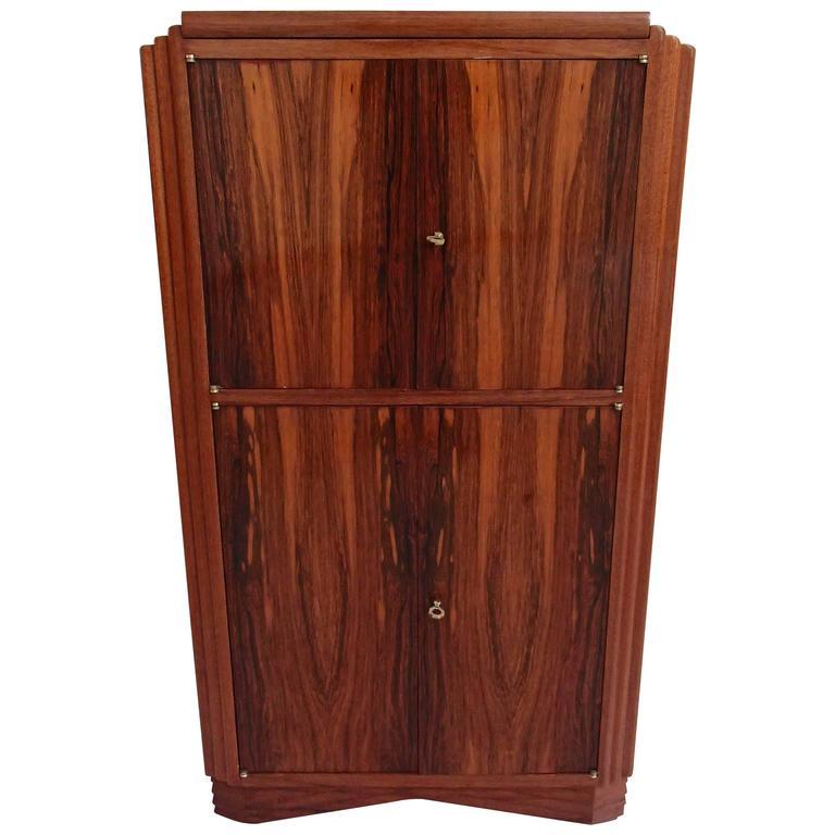 Art Deco Drink Cabinet Bar Ebene De Macassar Full Mahogonie For Sale