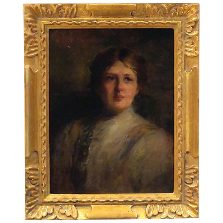 American Impressionist Portrait of a Beauty, circa 1880 For Sale