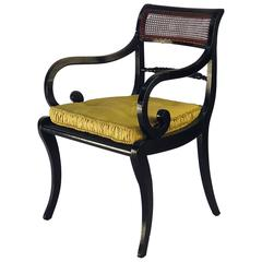 Regency Period Black Armchair England, 1820