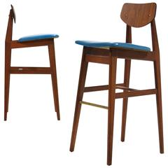 Jens Risom Pair of Rare Bar Stools