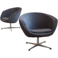 Pair of Swivel Lounge Chairs by Overman