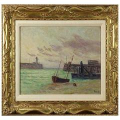 Original Wally Findlay 19th Century Artist Maximilien Luce Seascape Painting