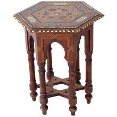 Antique Egyptian Wood and Bone Inlaid Table