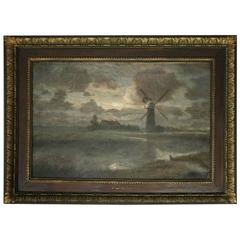 Oversized Oil on Canvas Painting by Herbert C. Sheppard, Dutch Landscape