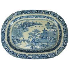 Antique English Herculaneum Chinoiserie Porcelain Serving Platter, circa 1840