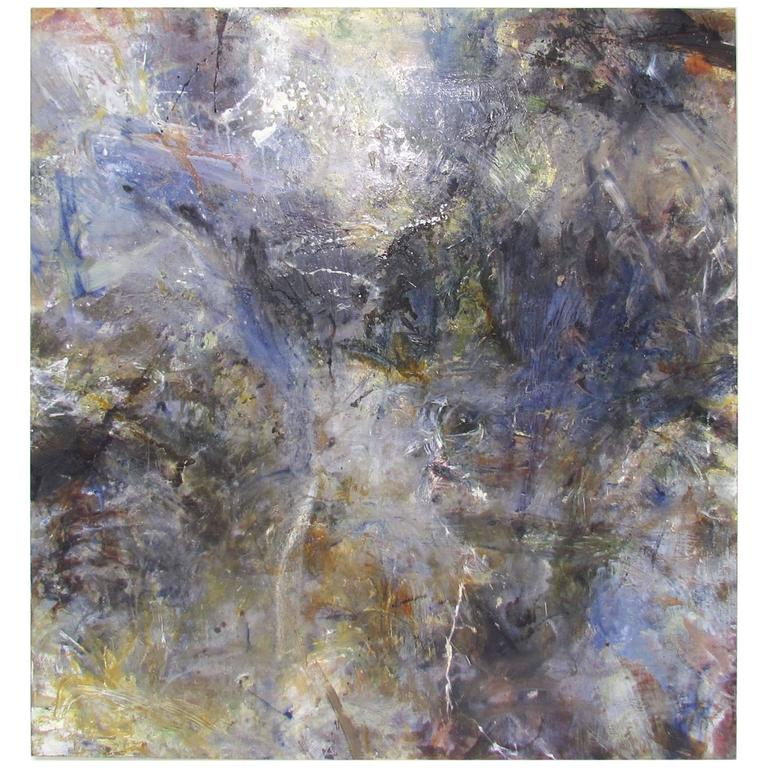 Abstract Ethereal Large Oil Painting on Canvas by Noted Artist Rachel Budd For Sale