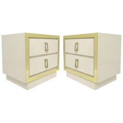 Pair of Hollywood Regency Style Nightstands with Brass Hardware