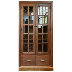 Fumed Oak School Room Two-Door Cabinet, circa 1917