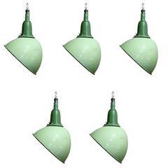 Green Enamel Parabolic Pendant Lights, 1950s