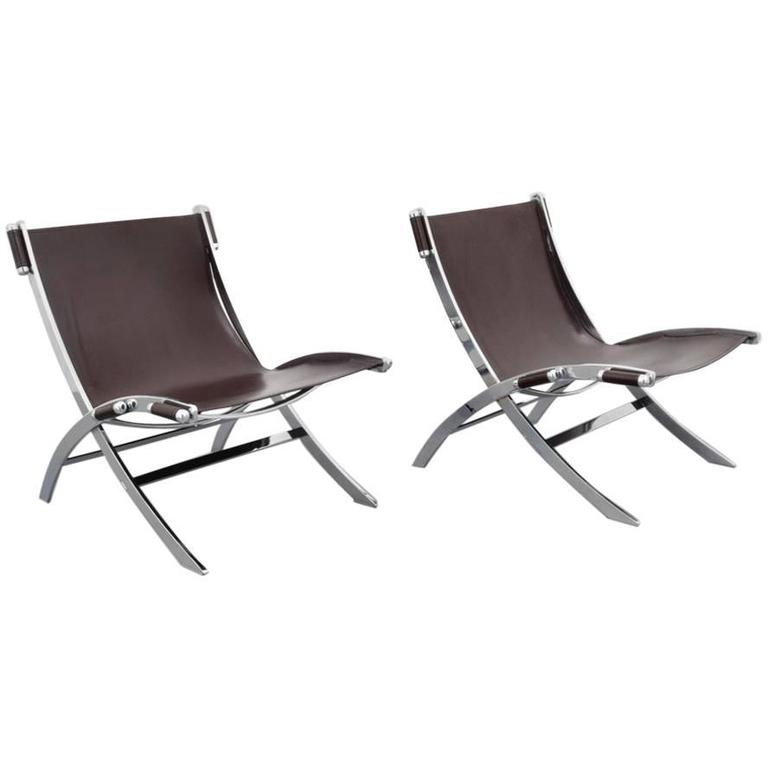 Pair of FlexForm Chrome and Leather Lounge Chairs, 1960s,  Itay