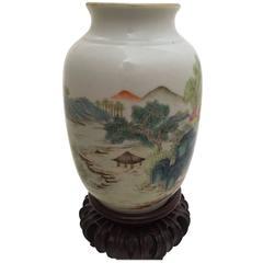 Early 20th Century Republic Period Chinese Fam, Rose Qianlong Mark Lantern Vase
