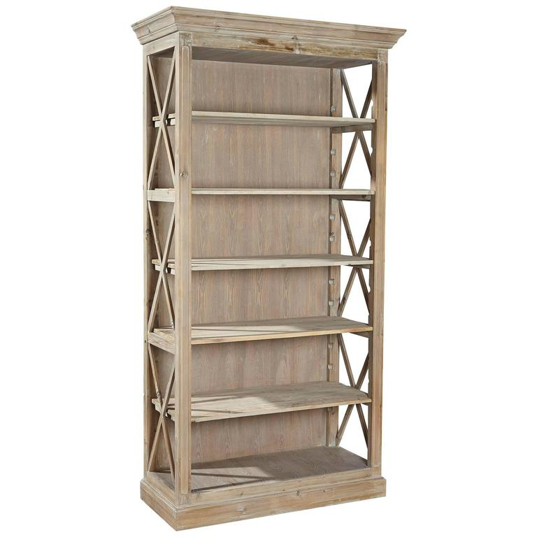 Weathered Open Bookcase For Sale