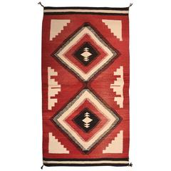 Massive Vintage Geometric Indian Wool Handmade Area Rug Navajo Style
