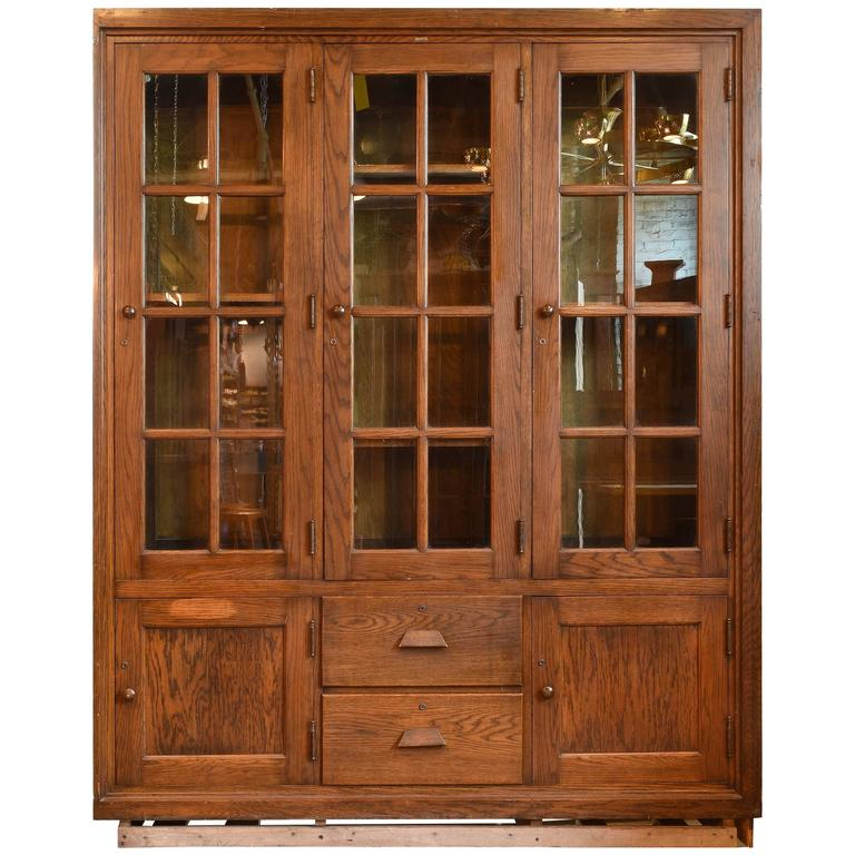 restored kitchen cabinets fumed oak three door school room cabinet circa 1917 at 1917