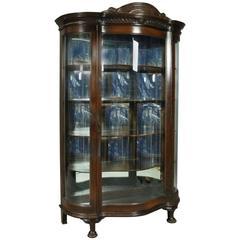 Antique Horner Bros. Oak Figural Mirror Back Curved Glass China Cabinet