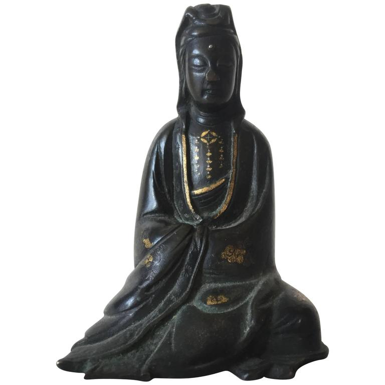 17th-18th Century Silver and Copper Inlaid Chinese Bronze Guanyin