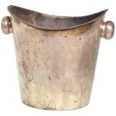 Hollywood Regency Silver Plated Champagne or Waste Basket, German Modern