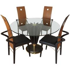 Pierre Cardin Cast Iron and Brass Dining Set, Table and Four Chairs