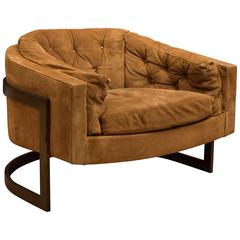 Vintage Tufted Suede Barrel Lounge Chair By Jules Heumann For