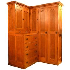 Golden Oak Corner Locker Cabinet with Drawers, circa 1910