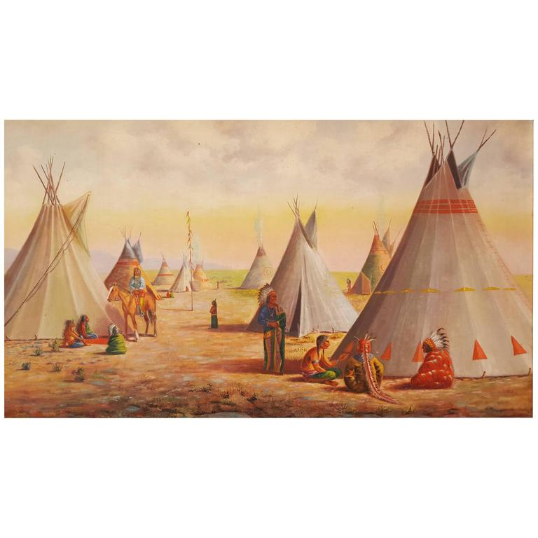 Large Oil Painting of Native American Indian Village