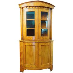 19th Century Biedermeier Bow Fronted Corner Cabinet