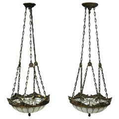 Pair of Antique Arts & Crafts Leaded Glass and Bronze Hanging Dome Lights