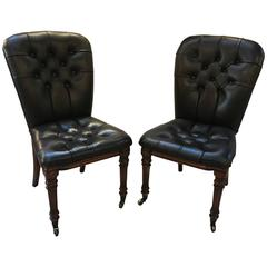 Pair of Black Leather Tufted Accent Chairs  William IV