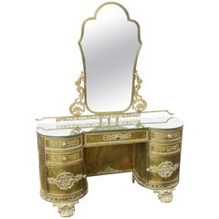 Art Nouveau Style Decorated Metal Vanity with Mirror