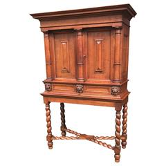 Stunning Baroque Revival Tiger Oak Cabinet with Lion Heads and Barley Twist Base
