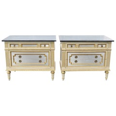 Pair Jansen Style Directoire Painted Mirrored & Gilded Commodes Night Stands