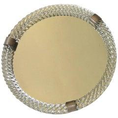 Large Venini Style Murano Round Twisted Glass Rope Vanity Tray