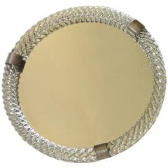 Large Venini Style Murano Round Twisted Glass Rope Vanity Tray